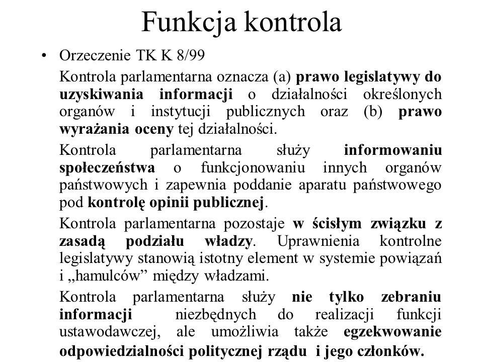 Funkcja kontrola Orzeczenie TK K 8/99