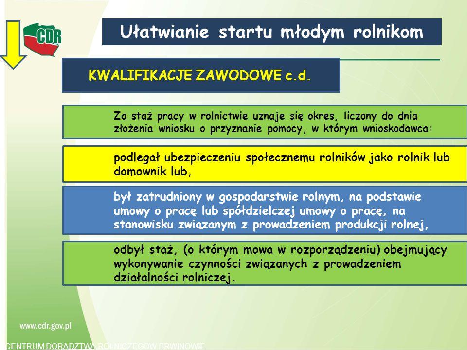 Ułatwianie startu młodym rolnikom KWALIFIKACJE ZAWODOWE c.d.