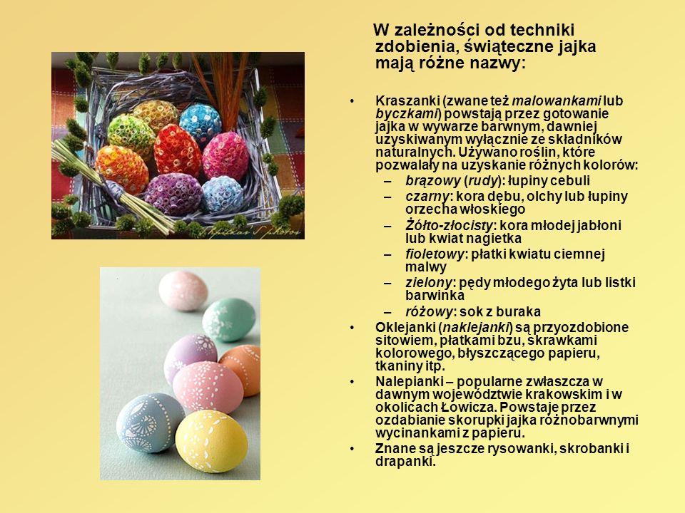 W zależności od techniki zdobienia, świąteczne jajka mają różne nazwy: