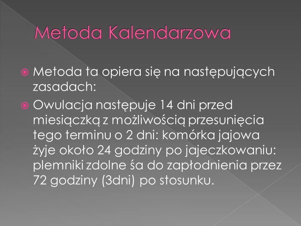 Metoda Kalendarzowa Metoda ta opiera się na następujących zasadach: