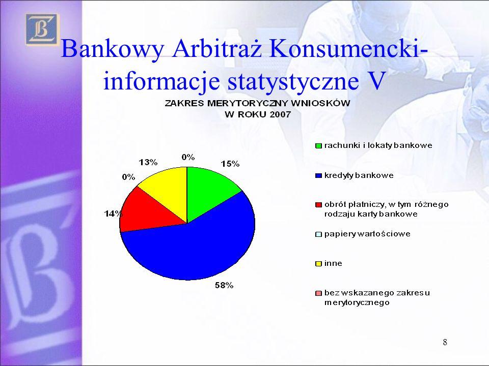 Bankowy Arbitraż Konsumencki- informacje statystyczne V