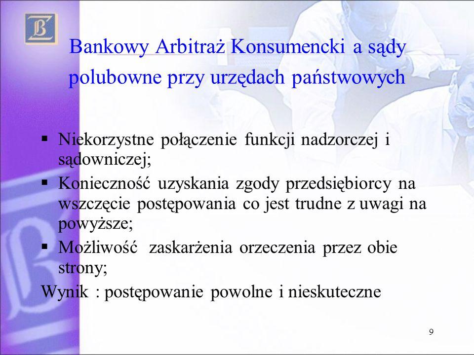 Bankowy Arbitraż Konsumencki a sądy polubowne przy urzędach państwowych