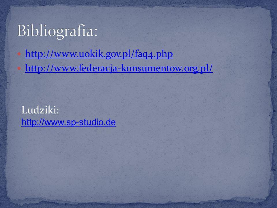 Bibliografia: Ludziki: http://www.uokik.gov.pl/faq4.php