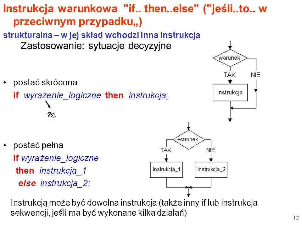 Instrukcja warunkowa if. then. else ( jeśli. to