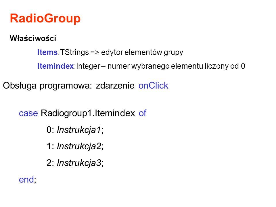 RadioGroup Obsługa programowa: zdarzenie onClick