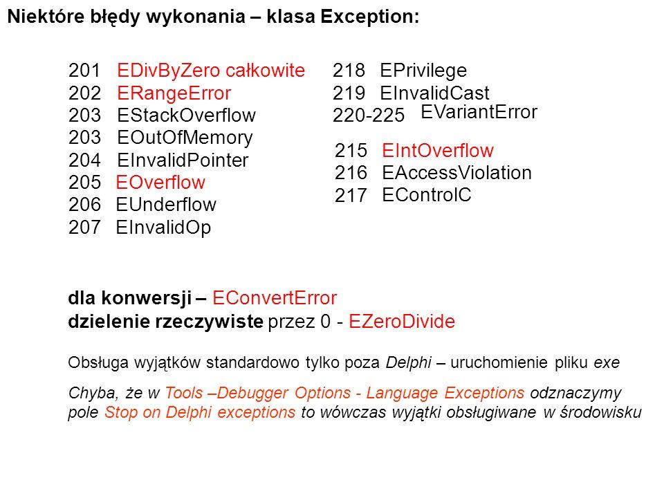 Niektóre błędy wykonania – klasa Exception: