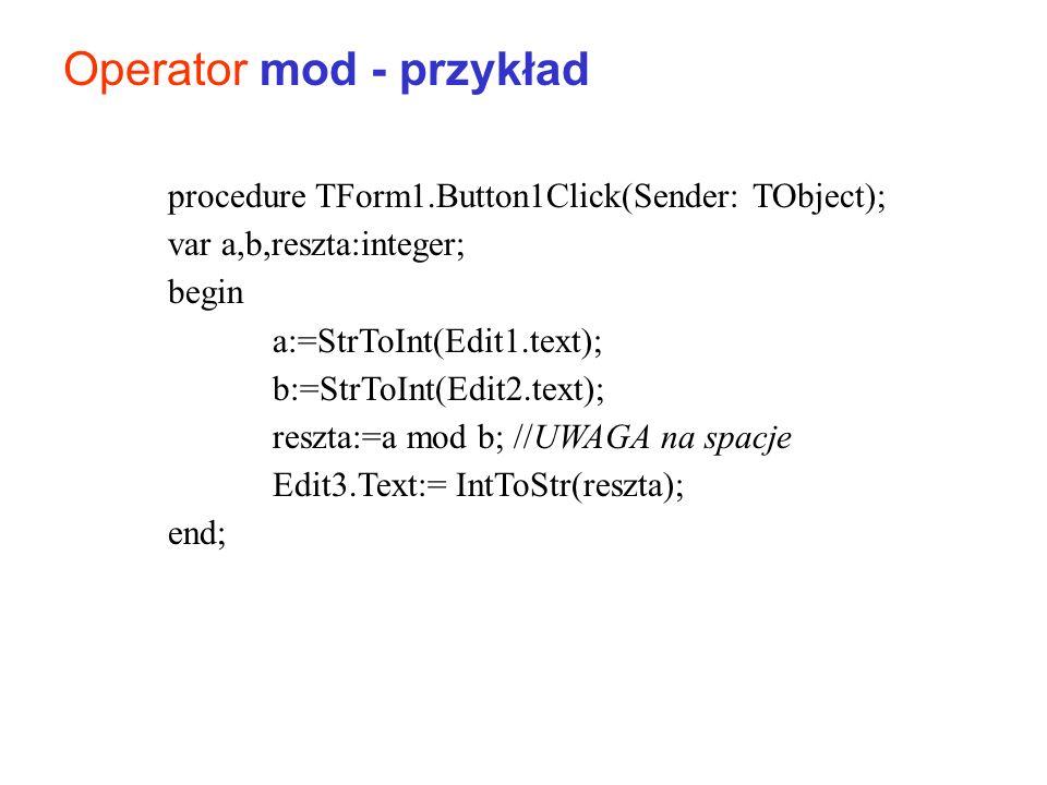 Operator mod - przykład