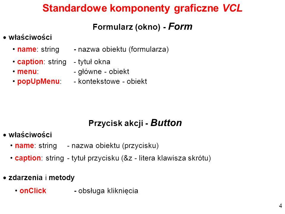 Standardowe komponenty graficzne VCL