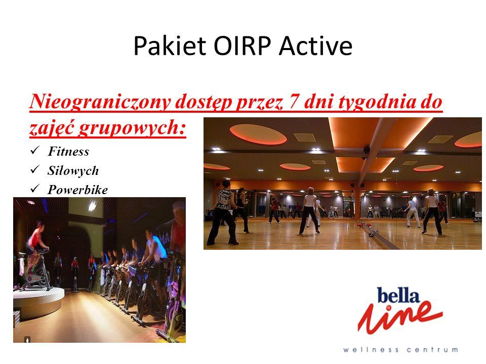 Pakiet OIRP Active Nieograniczony dostęp przez 7 dni tygodnia do zajęć grupowych: Fitness. Siłowych.