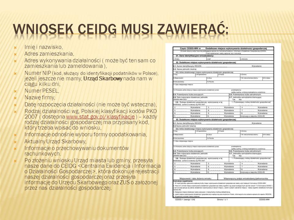 Wniosek Ceidg musi zawierać: