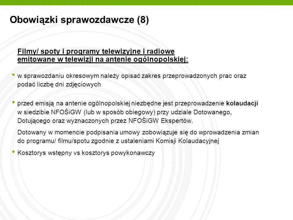 Obowiązki sprawozdawcze (8)