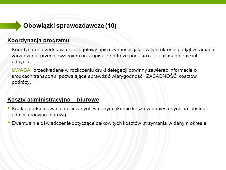 Obowiązki sprawozdawcze (10)