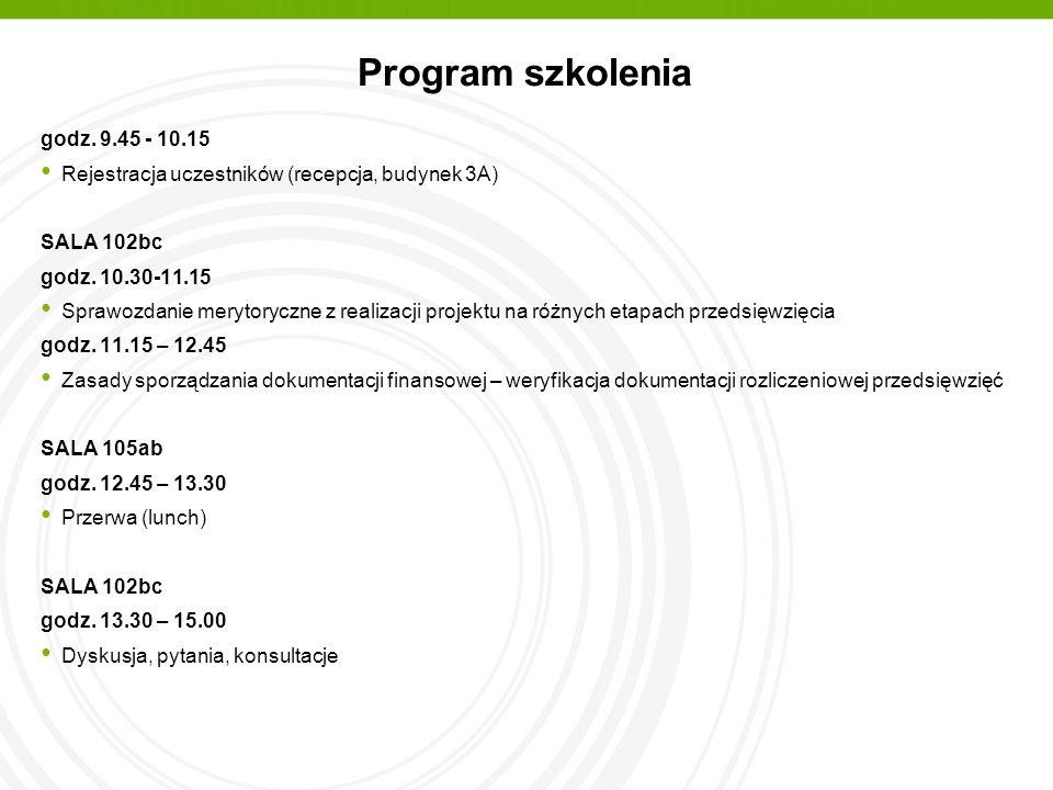 Program szkolenia godz. 9.45 - 10.15