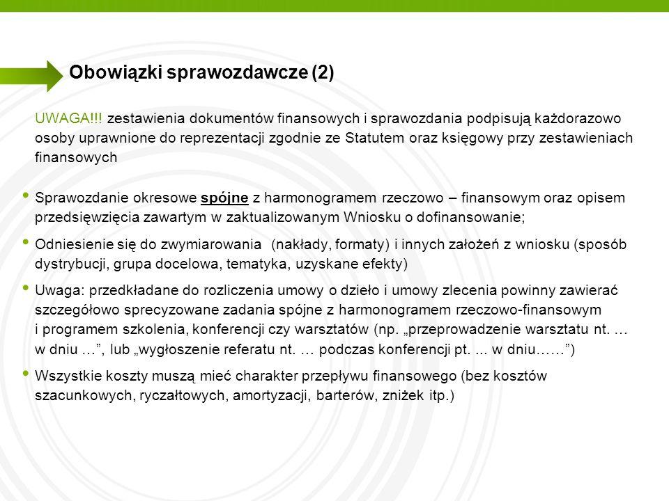 Obowiązki sprawozdawcze (2)