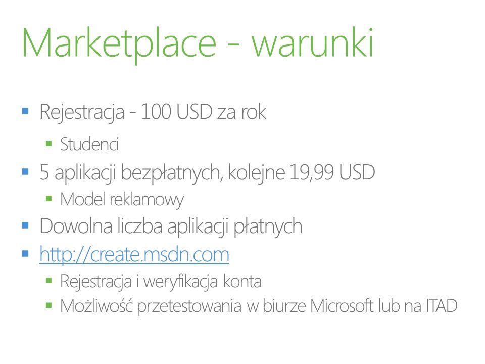 Marketplace - warunki Rejestracja - 100 USD za rok