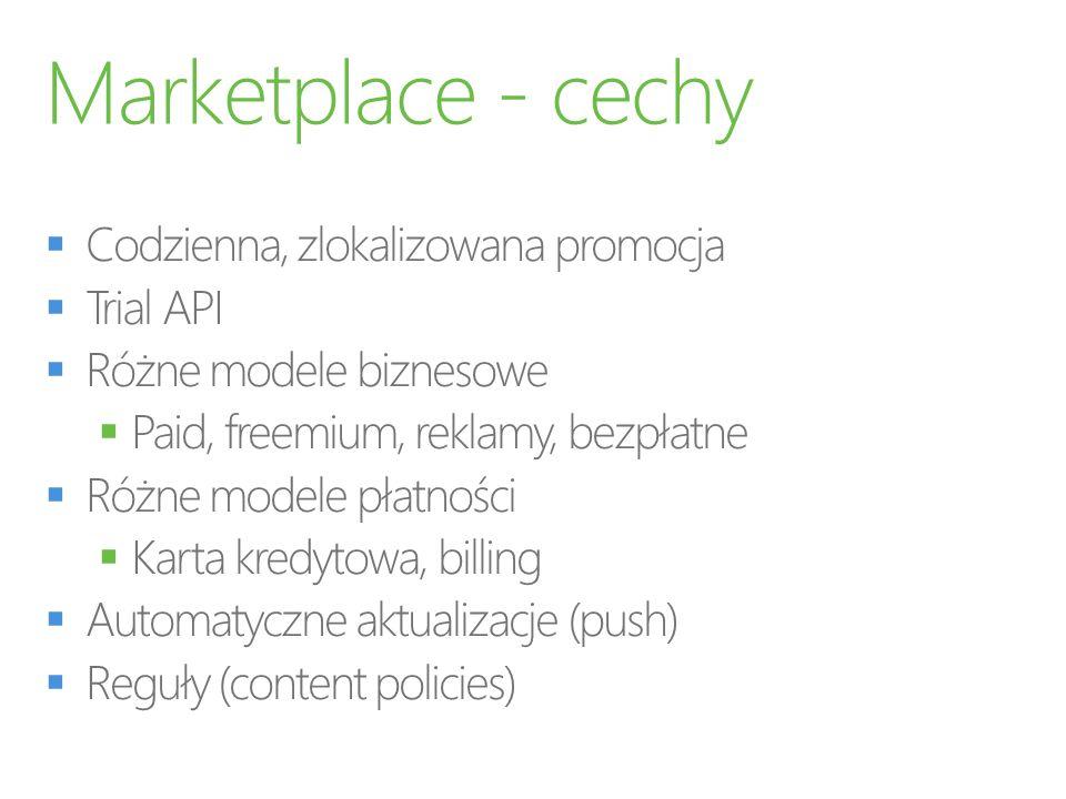 Marketplace - cechy Codzienna, zlokalizowana promocja Trial API