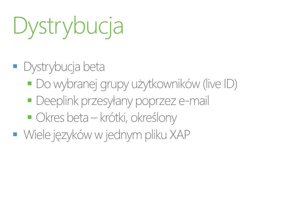 Dystrybucja Dystrybucja beta Do wybranej grupy użytkowników (live ID)