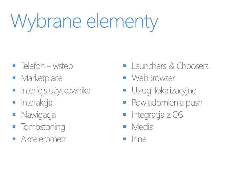 Wybrane elementy Telefon – wstęp Marketplace Interfejs użytkownika
