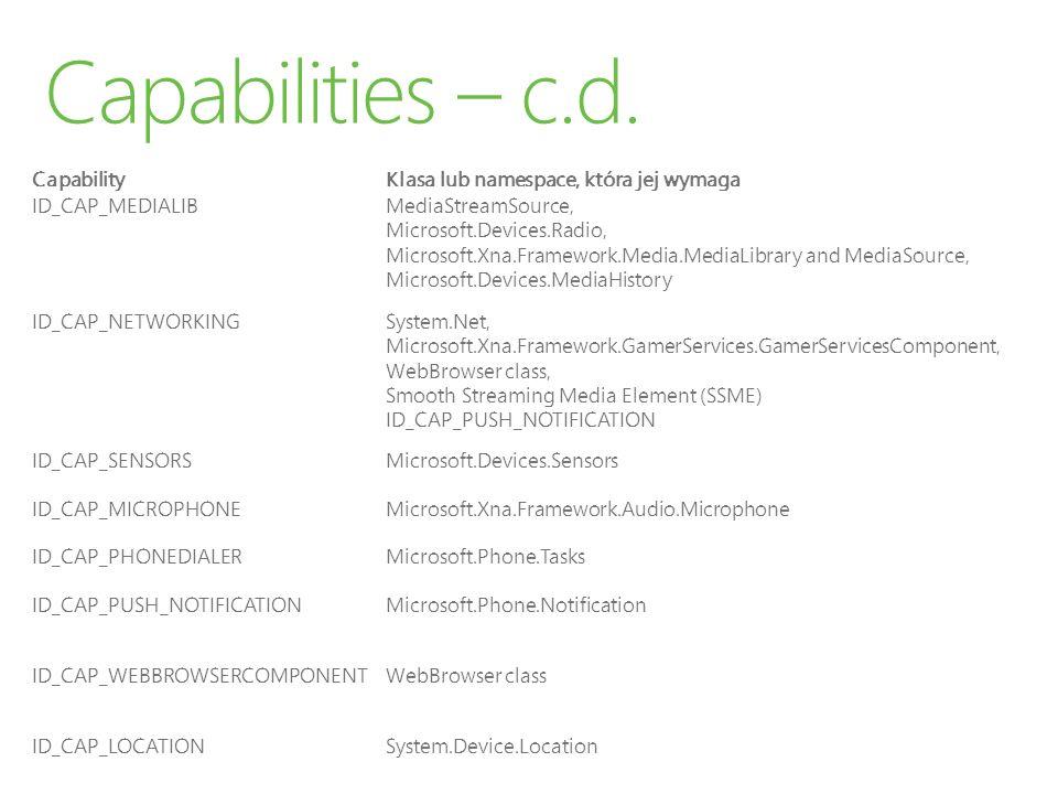 Capabilities – c.d. Capability Klasa lub namespace, która jej wymaga