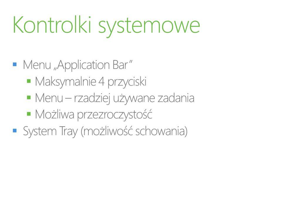"""Kontrolki systemowe Menu """"Application Bar Maksymalnie 4 przyciski"""