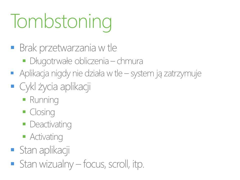 Tombstoning Brak przetwarzania w tle Cykl życia aplikacji