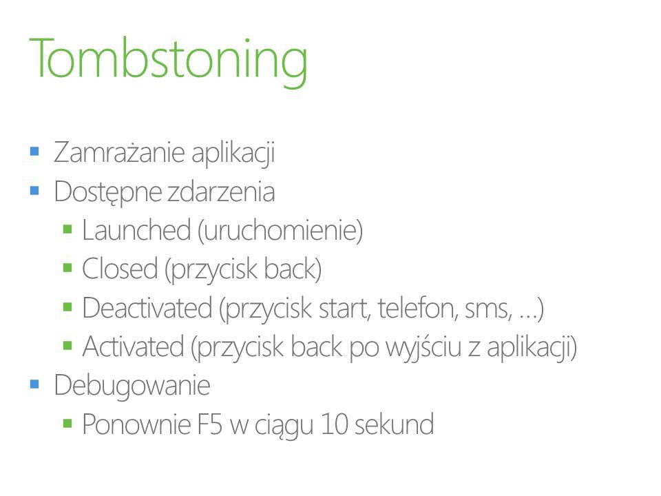 Tombstoning Zamrażanie aplikacji Dostępne zdarzenia