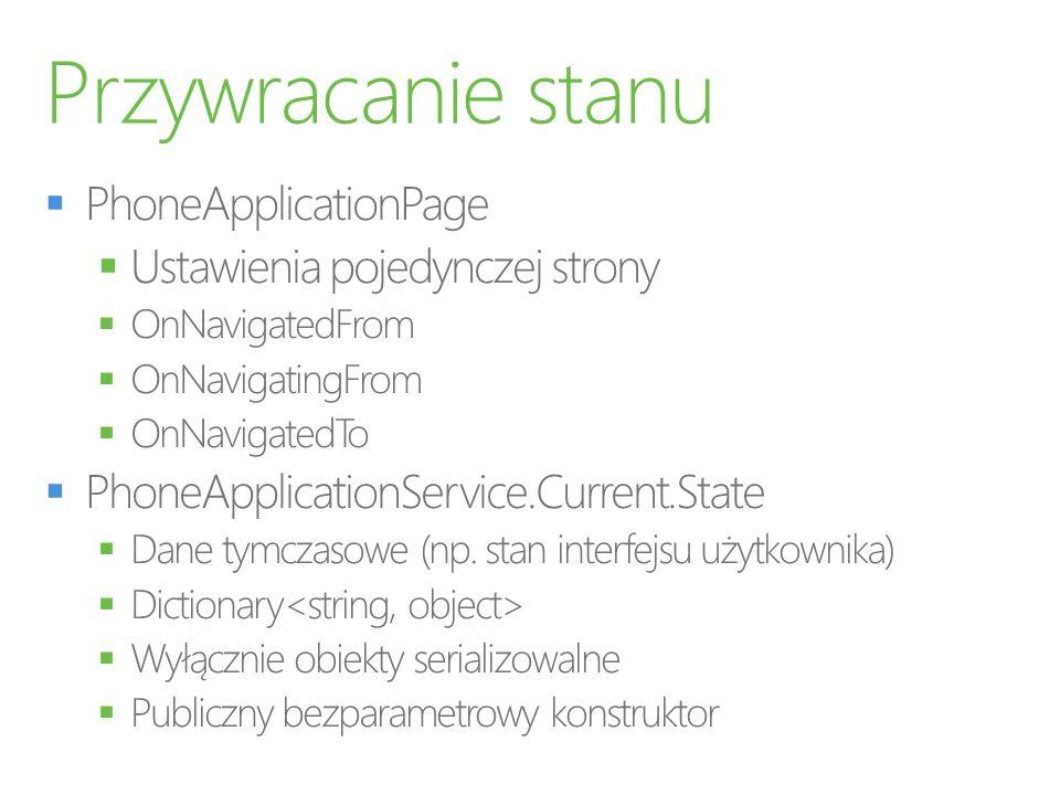 Przywracanie stanu PhoneApplicationPage Ustawienia pojedynczej strony