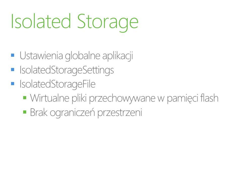 Isolated Storage Ustawienia globalne aplikacji IsolatedStorageSettings