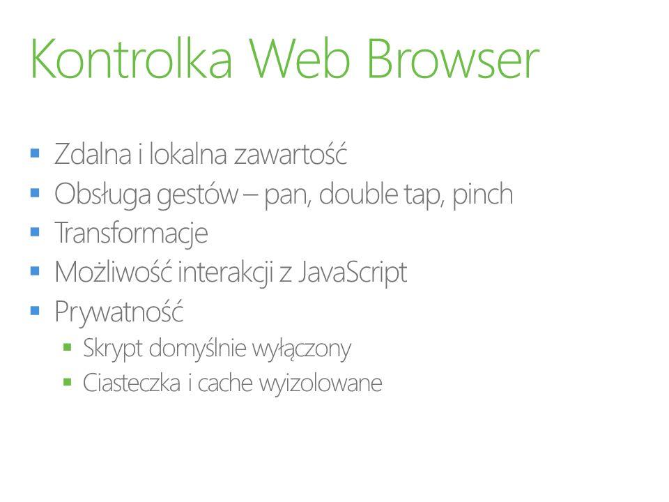 Kontrolka Web Browser Zdalna i lokalna zawartość