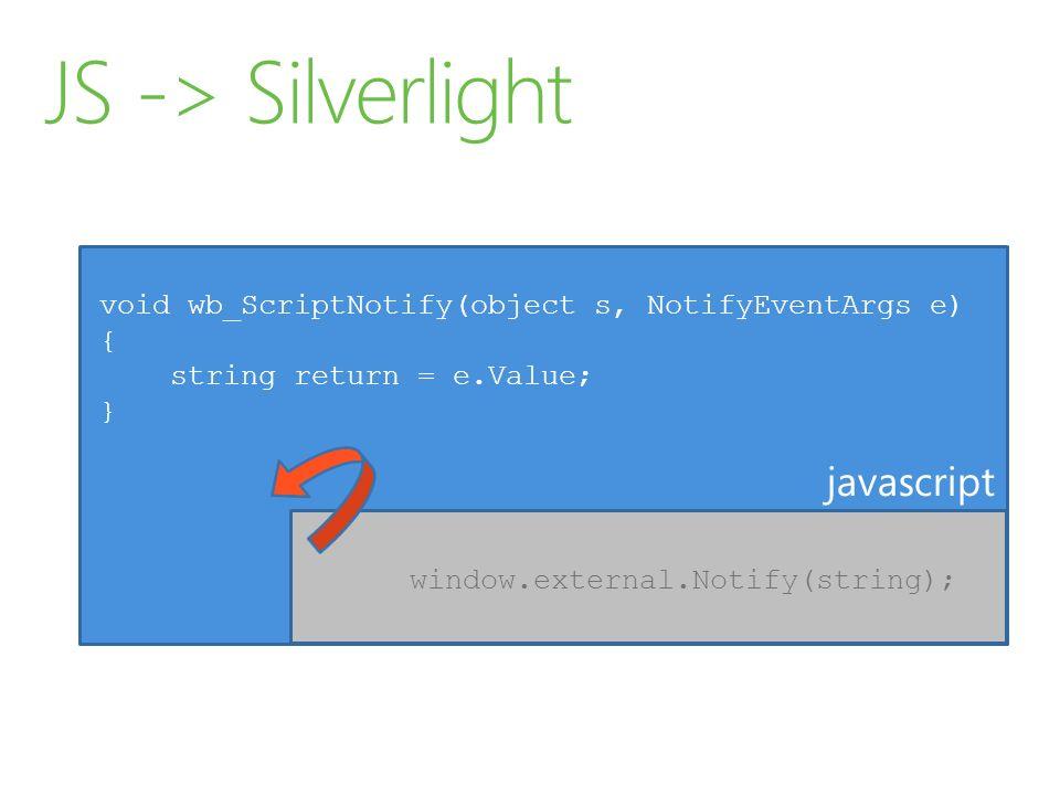 JS -> Silverlight javascript