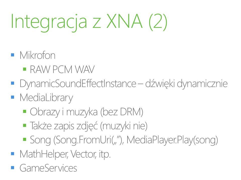 Integracja z XNA (2) Mikrofon RAW PCM WAV