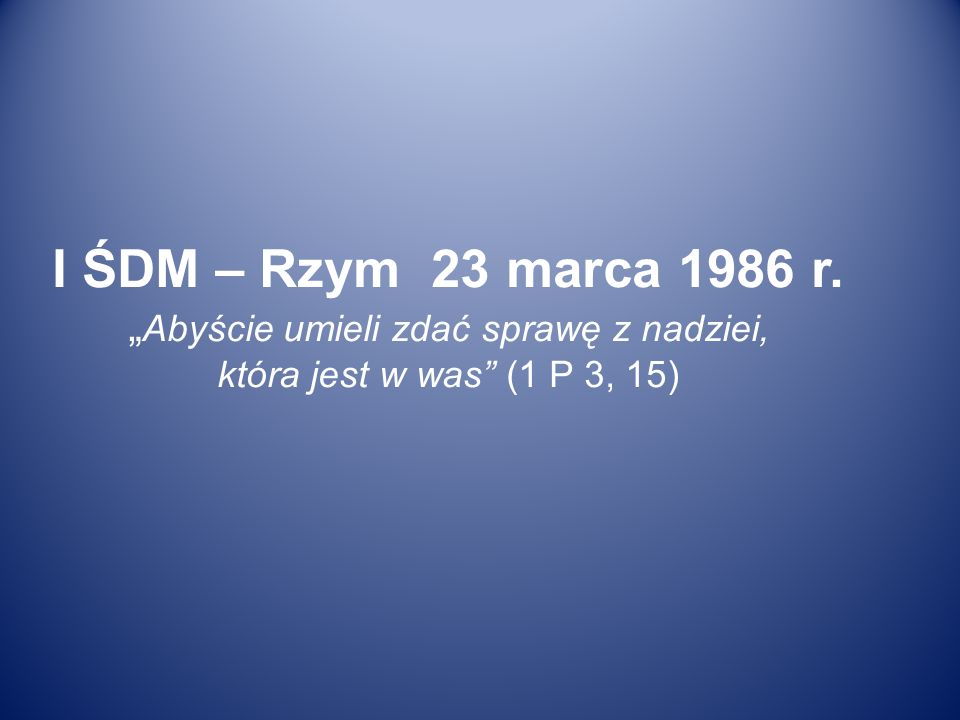 """I ŚDM – Rzym 23 marca 1986 r. """"Abyście umieli zdać sprawę z nadziei, która jest w was (1 P 3, 15)"""