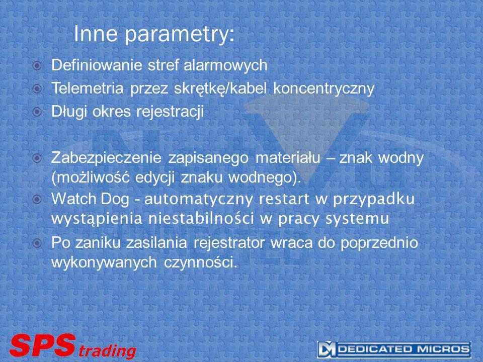 Inne parametry: Definiowanie stref alarmowych