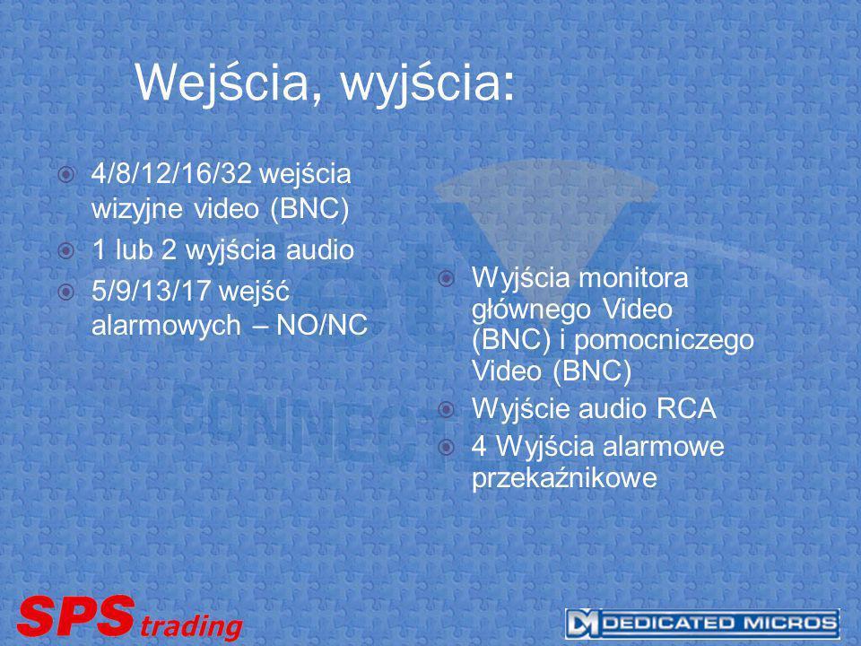 Wejścia, wyjścia: 4/8/12/16/32 wejścia wizyjne video (BNC)