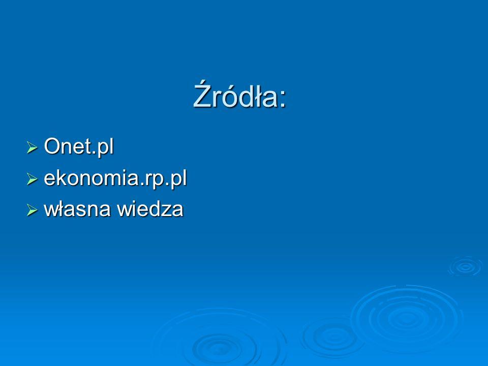 Źródła: Onet.pl ekonomia.rp.pl własna wiedza