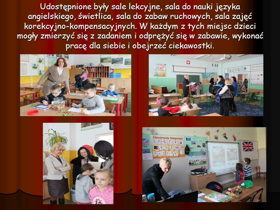 Udostępnione były sale lekcyjne, sala do nauki języka angielskiego, świetlica, sala do zabaw ruchowych, sala zajęć korekcyjno-kompensacyjnych.