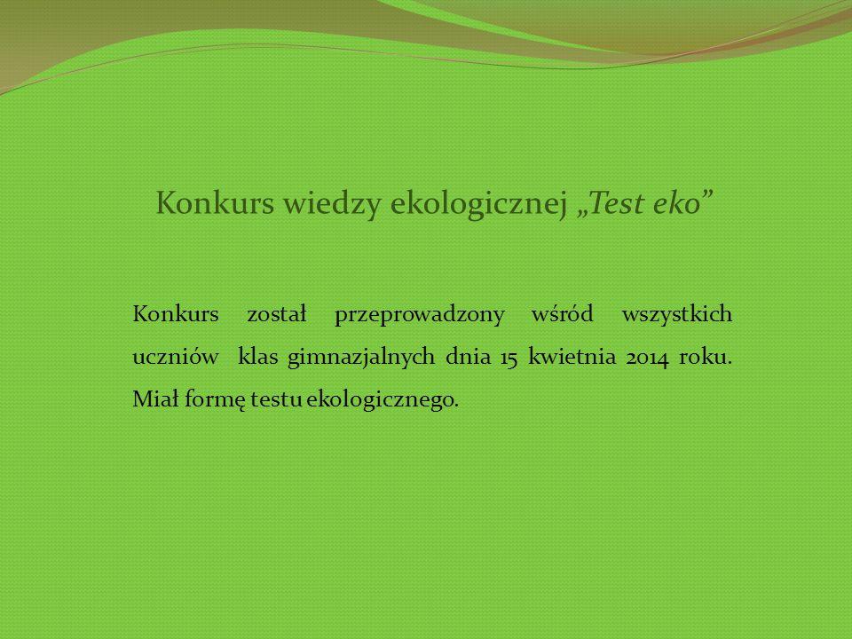 """Konkurs wiedzy ekologicznej """"Test eko"""