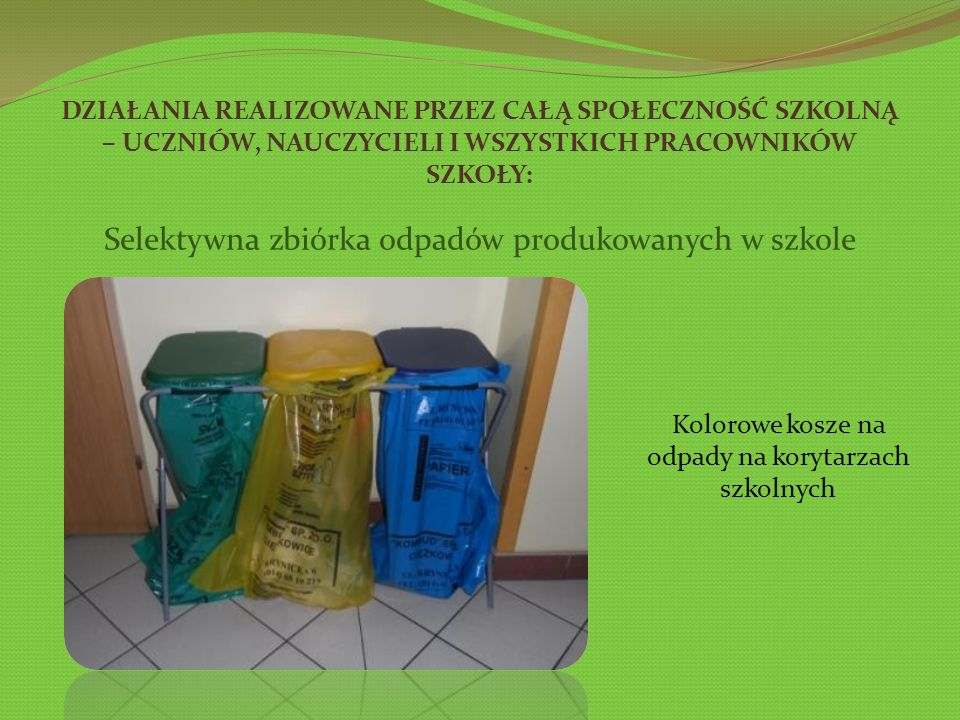 Selektywna zbiórka odpadów produkowanych w szkole