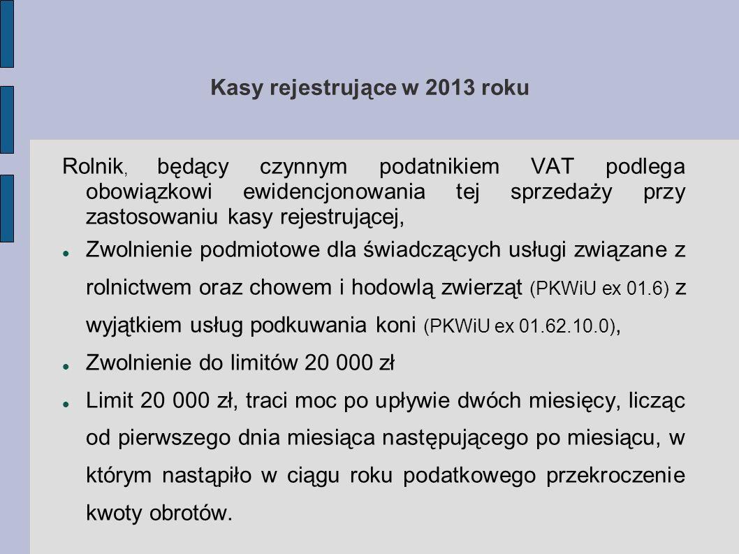 Kasy rejestrujące w 2013 roku