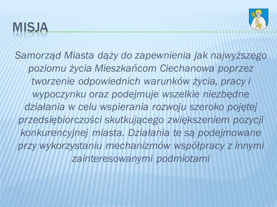 Samorząd Miasta dąży do zapewnienia jak najwyższego poziomu życia Mieszkańcom Ciechanowa poprzez tworzenie odpowiednich warunków życia, pracy i wypoczynku oraz podejmuje wszelkie niezbędne działania w celu wspierania rozwoju szeroko pojętej przedsiębiorczości skutkującego zwiększeniem pozycji konkurencyjnej miasta.