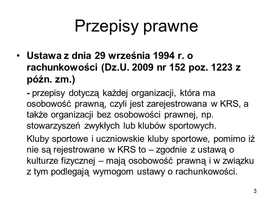 Przepisy prawne Ustawa z dnia 29 września 1994 r. o rachunkowości (Dz.U. 2009 nr 152 poz. 1223 z późn. zm.)