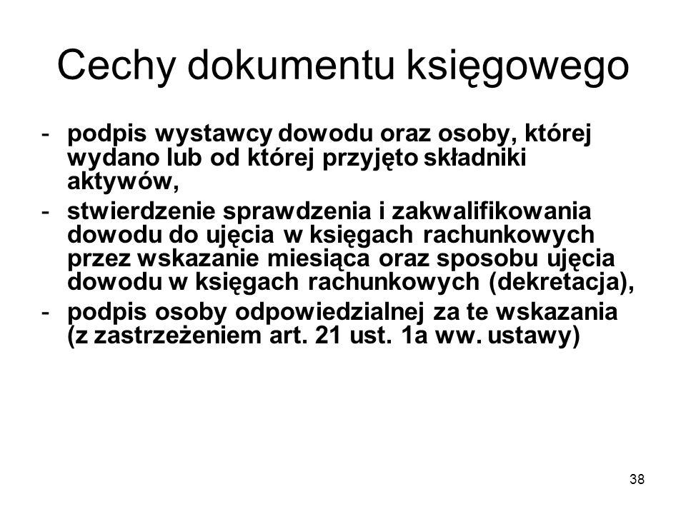 Cechy dokumentu księgowego