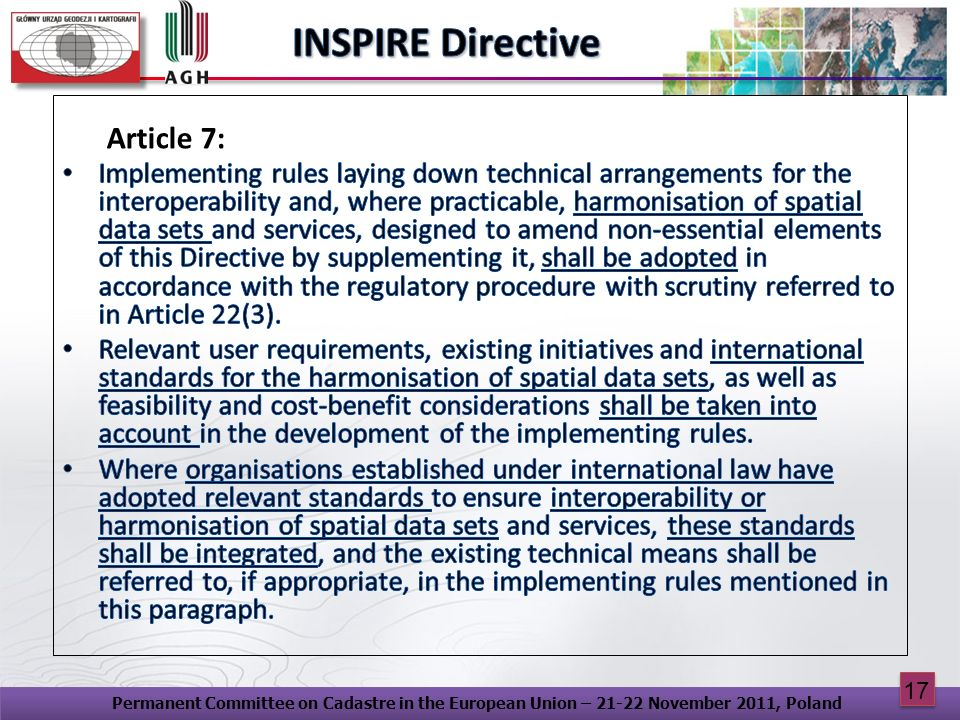 INSPIRE Directive Article 7: