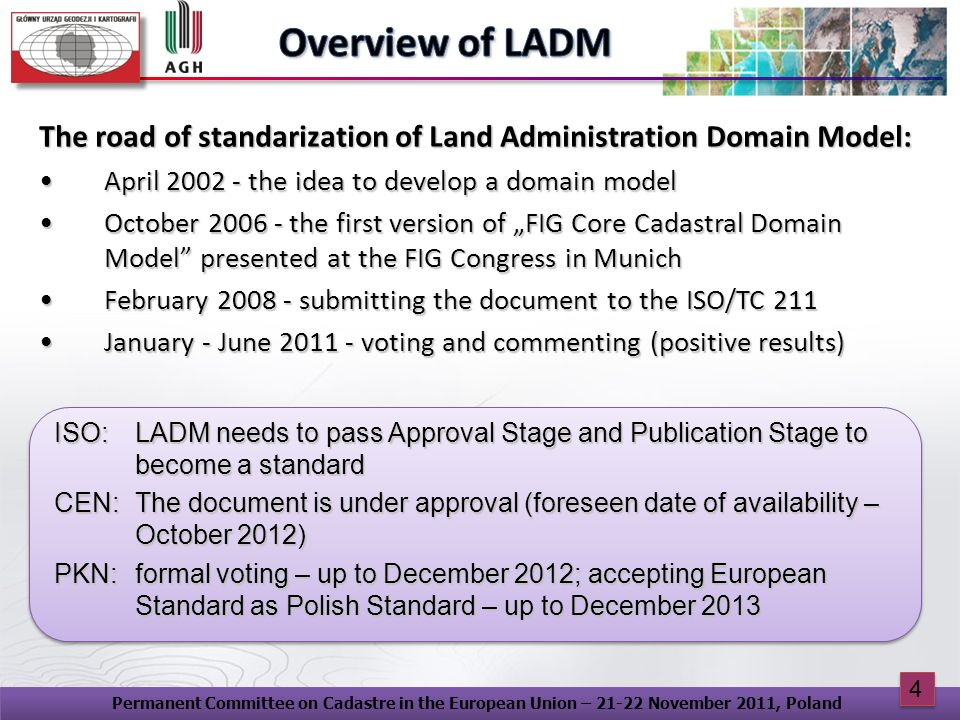 Overview of LADM The road of standarization of Land Administration Domain Model: April 2002 - the idea to develop a domain model.