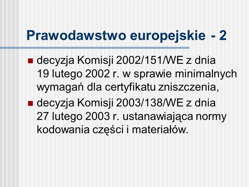 Prawodawstwo europejskie - 2