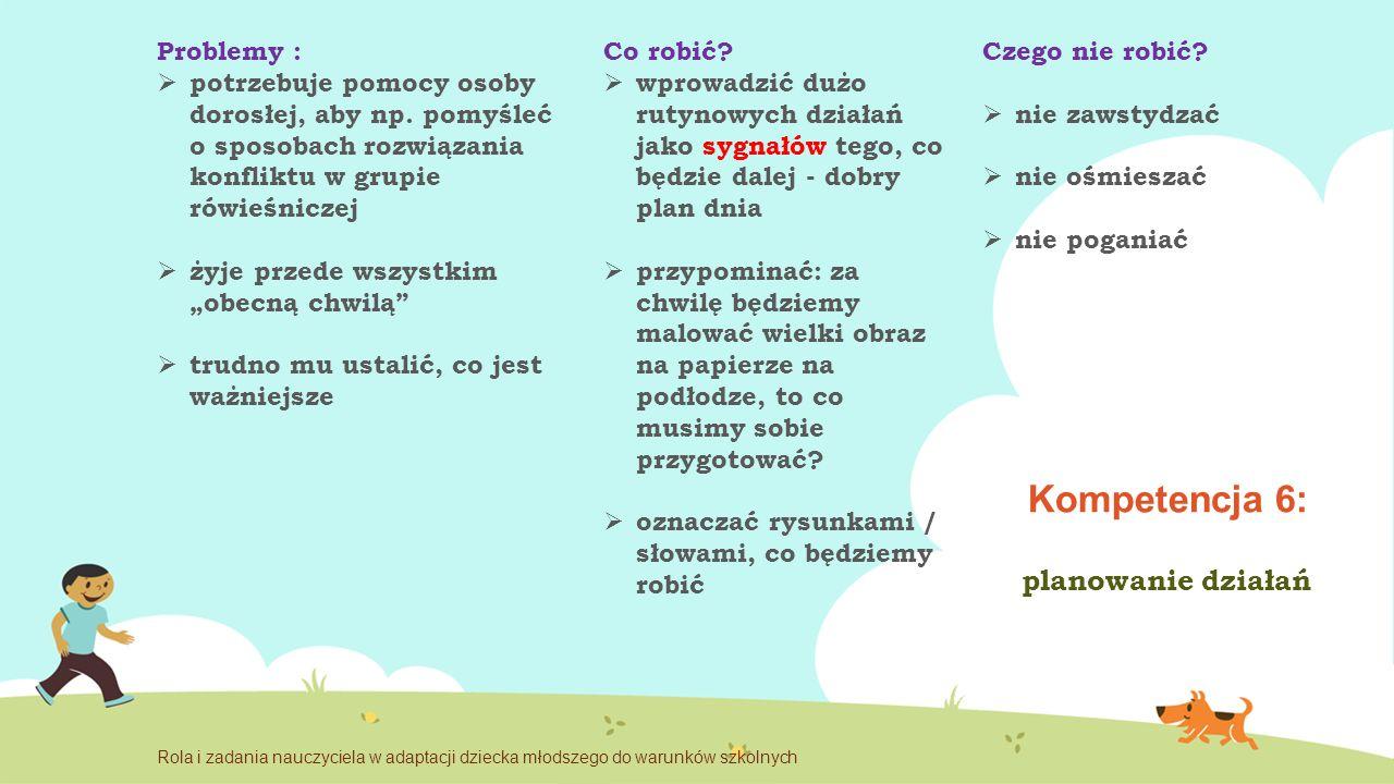 Kompetencja 6: planowanie działań Problemy :