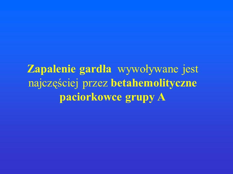 Zapalenie gardła wywoływane jest najczęściej przez betahemolityczne paciorkowce grupy A