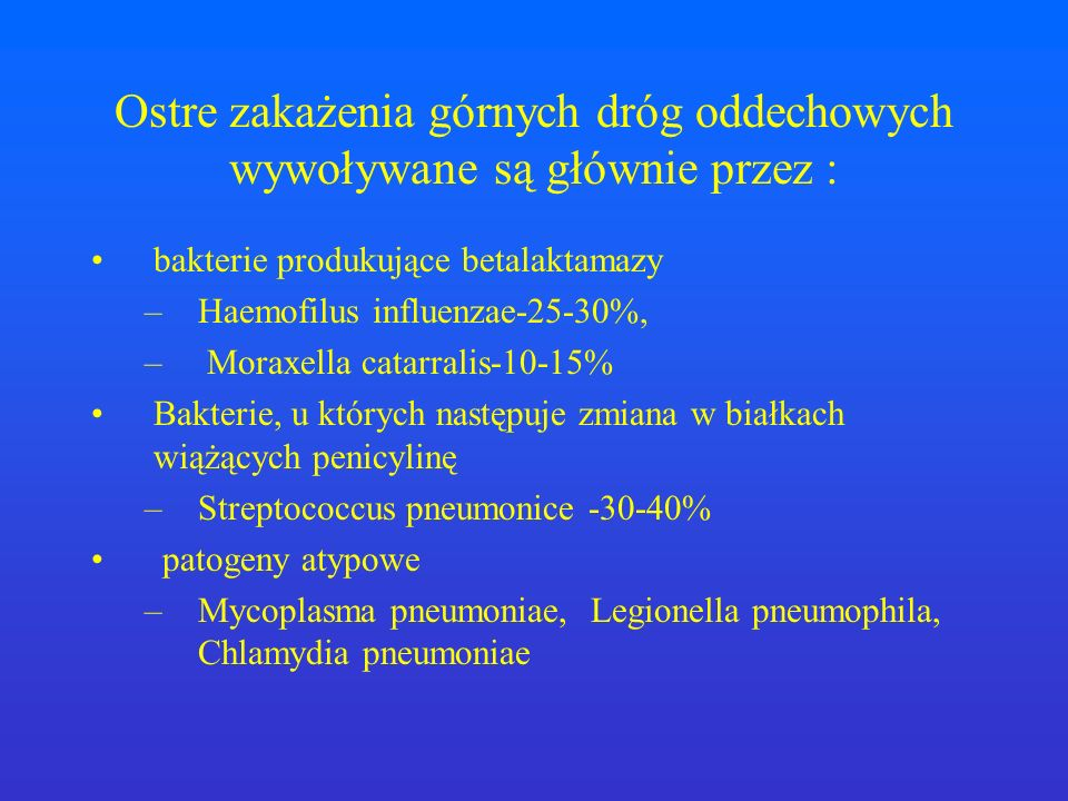 Ostre zakażenia górnych dróg oddechowych wywoływane są głównie przez :
