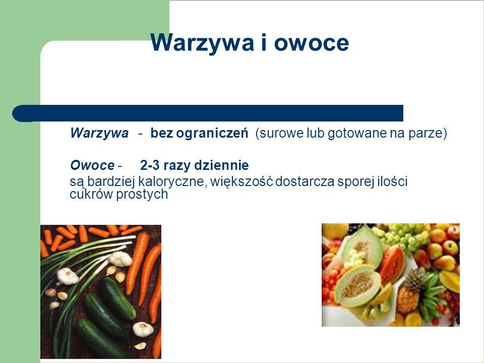 Warzywa i owoce Warzywa - bez ograniczeń (surowe lub gotowane na parze) Owoce - 2-3 razy dziennie.