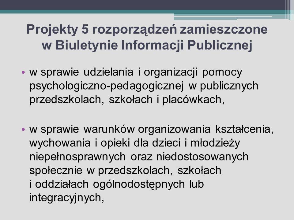 Projekty 5 rozporządzeń zamieszczone w Biuletynie Informacji Publicznej